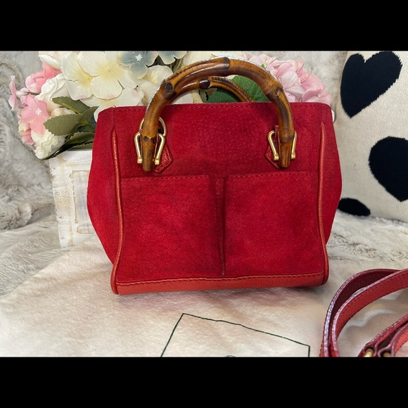 Mini suede Gucci two way, sling bag.